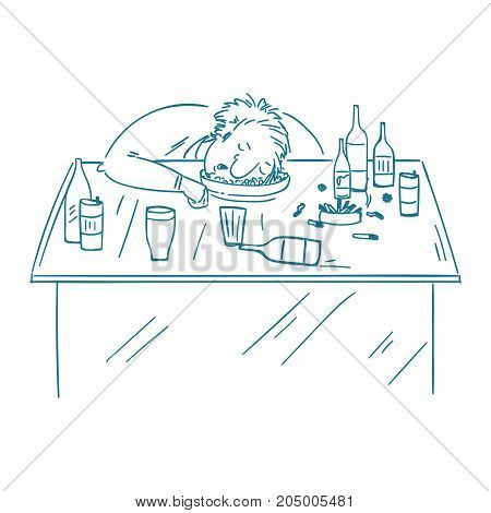 A drunk man sitting fall asleep on the table with a bottle of alcohol. Over drink concept.