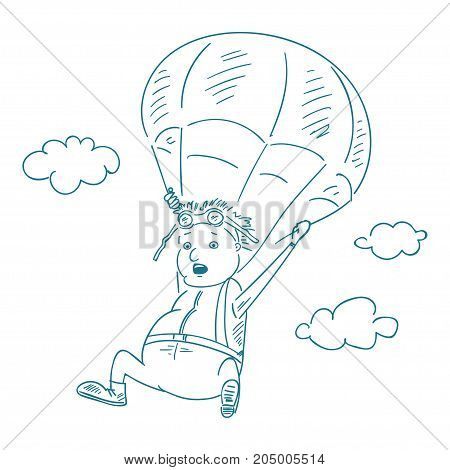 parachutists in the sketch style, vector illustration.
