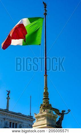 Statue on Monumento Nazionale a Vittorio Emanuele II or Altare della Patria (Altar of the Fatherland) Rome Italy.