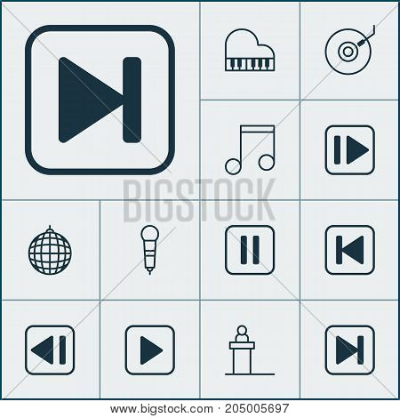 Multimedia Icons Set. Collection Of Start Song, Run Song Back, Gramophone And Other Elements