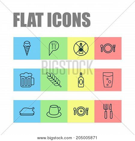 Eating Icons Set. Collection Of Cutlery, Meal Hour, Wheat And Other Elements