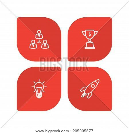 Collection Of Teamwork, Startup, Idea And Other Elements.  Set Of 4 Startup Outline Icons Set.