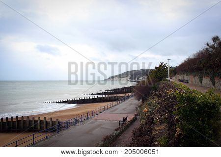 Breakwaters and piers of Eastbourne City, England