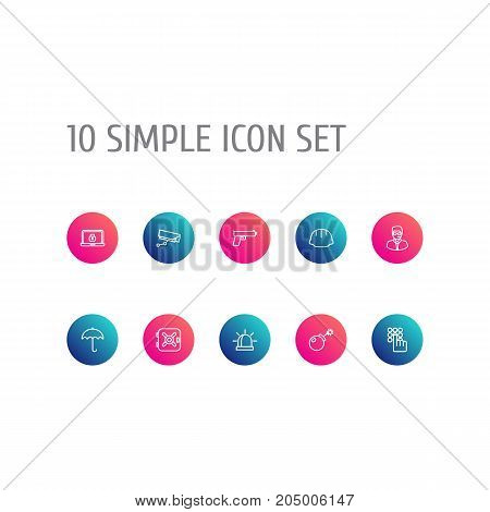 Collection Of Helmet, Alarm, Safe And Other Elements.  Set Of 10 Procuring Outline Icons Set.