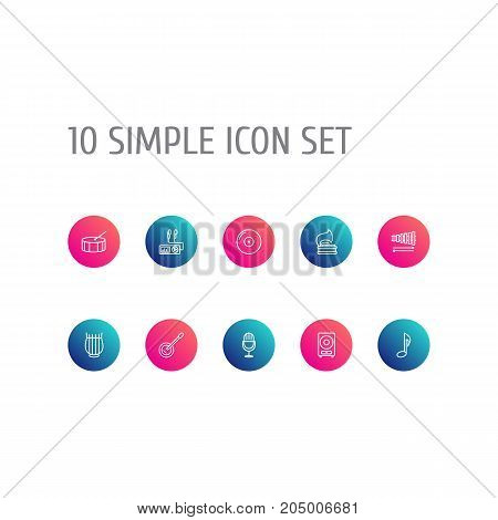 Collection Of Loudspeaker, Guitar, Amplifier And Other Elements.  Set Of 10 Music Outline Icons Set.