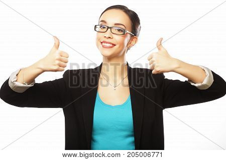 lifestyle, business and people concept: Happy businesswoman showing thumb up over white background