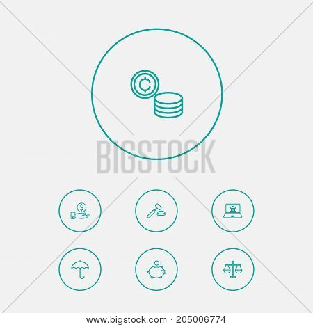 Collection Of Justice, Auction, Savings And Other Elements.  Set Of 7 Finance Outline Icons Set.