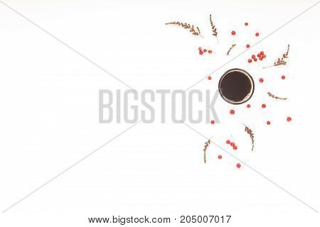 Autumn Background. Dried Autumn Flowers, Berry, Cup Of Coffee, On White Background. Flat Lay, Top Vi
