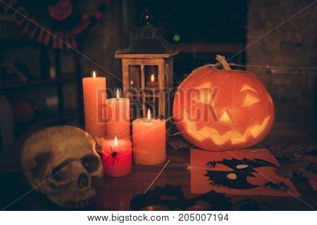Halloween Creepy Feast Decorative Hand Made Frightening Stuff On Wooden Table Desk Top Cutted Pumpki