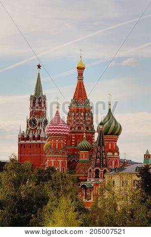 Saint Basil's Cathedral and Kremlin. Autumn landscape. View from Zaryadye Park. Moscow, Russia.