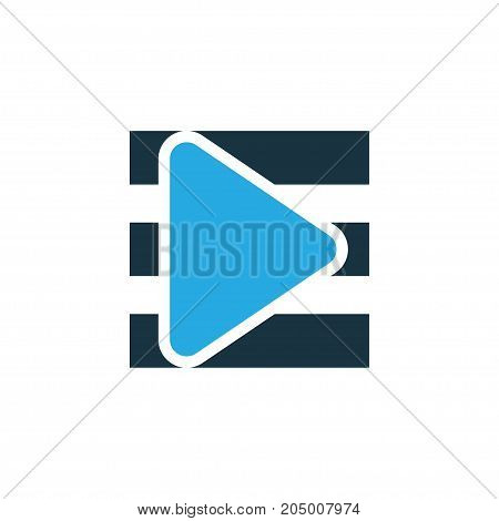 Premium Quality Isolated Song List Element In Trendy Style.  Playlist Colorful Icon Symbol.