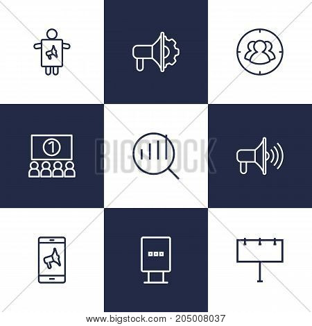 Collection Of Promotion, Target, Advertising Agency And Other Elements.  Set Of 9 Advertising Outline Icons Set.