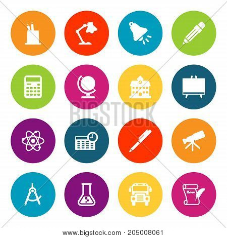 Collection Of Agreement, Ringing, Autobus And Other Elements.  Set Of 16 School Icons Set.