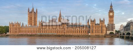 Panoramic view of Palace of Westminster in the morning, London, England.