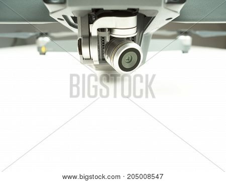 Drone surveillance camera lens on a white background with text space