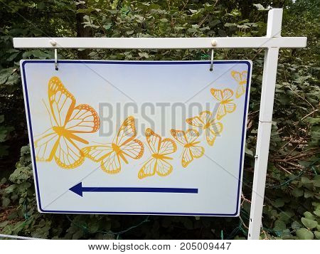 sign with butterflies on it and an arrow pointing left