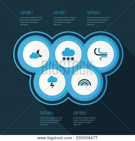 Weather Colorful Icons Set. Collection Of Lightning, Arc, Moonshine And Other Elements