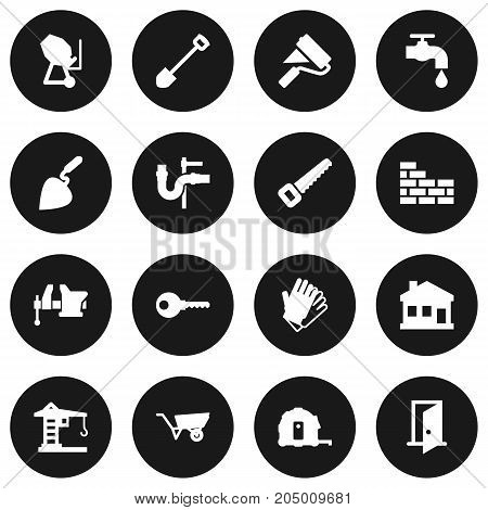 Collection Of Brick Wall, Bricklayer, Meter And Other Elements.  Set Of 16 Architecture Icons Set.