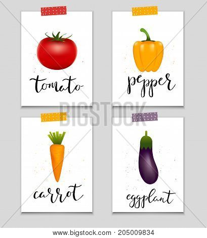 Set of healthy sticker vegetables. Collection of quality vector illustration about diet eco food benefits of vegan and nutrition concept.