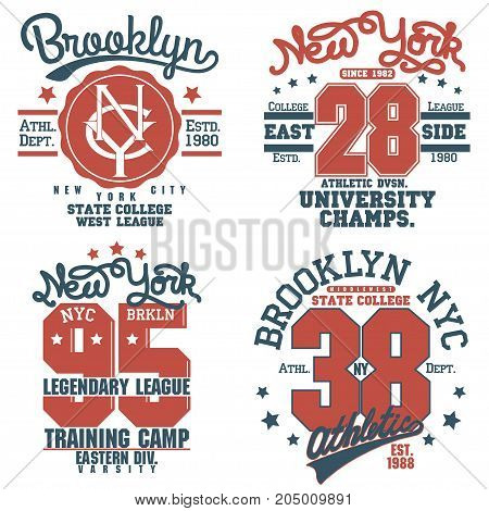 New York Brooklyn Sport wear set, typography emblem, t-shirt stamp graphics, tee print, athletic apparel design