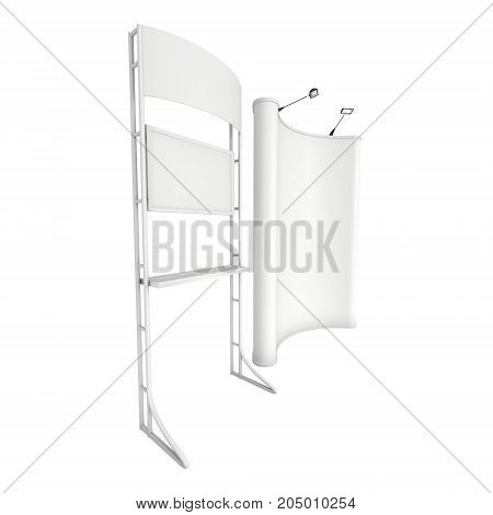 LCD Screen Stand with Pop up. Blank Trade Show Booth. 3d render of lcd screen isolated on white background. High Resolution. Ad template for your expo design.