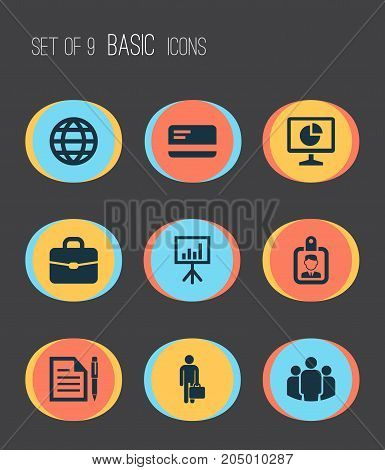 Job Icons Set. Collection Of Id Badge, Earth, Payment And Other Elements