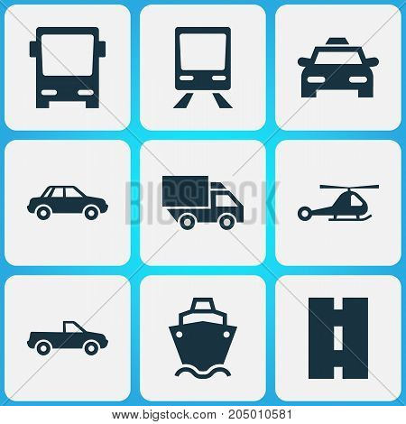 Transport Icons Set. Collection Of Chopper, Railway, Automobile And Other Elements