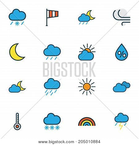 Weather Colorful Outline Icons Set. Collection Of Sunshine, Clouded, Thunderstroke And Other Elements