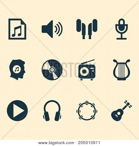 Multimedia Icons Set. Collection Of Tuner, Lyre, Mike And Other Elements