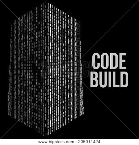Skyscrapers code. Binary digital form of futuristic city building. Vector llustration of matrix abstract tech background. Web developer coding concept