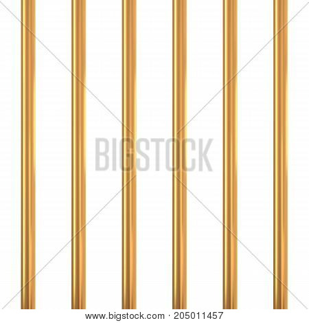 Gold prison bars isolated on white. Golden cage concept. Vector illustration.