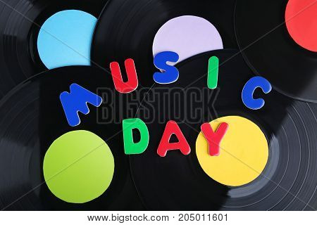 Vinyl records with the inscription Music Day