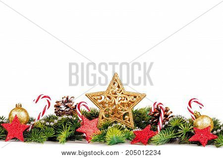 Christmas Border - big star with tree and decoration isolated on white, horizontal banner