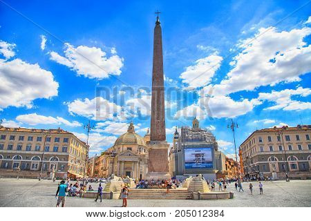 ROME, ITALY - JULY 16, 2017: Piazza del Popolo (People's Square) in Rome, Italy. Piazza del Popolo is a large city square in Rome which many locals and tourists visit every day.