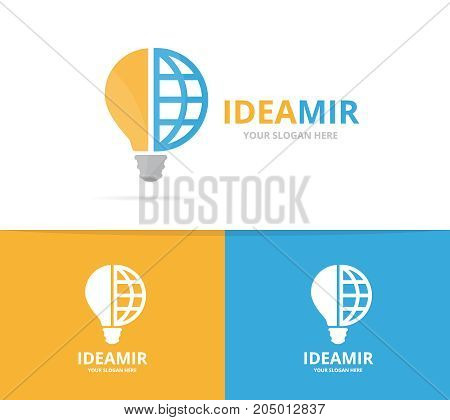 Vector lamp and planet logo combination. Lightbulb and world symbol or icon. Unique idea and globe logotype design template.