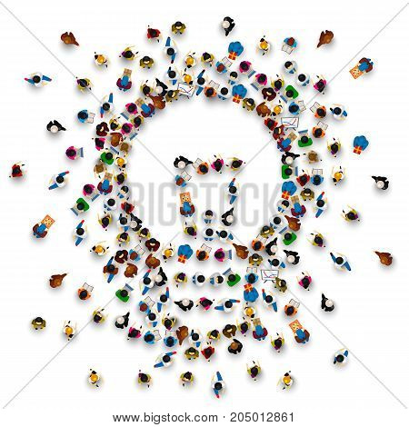 People around a llama on a white background. Vector illustration