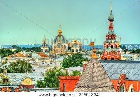 Skyline of Yaroslavl town, the Golden Ring of Russia