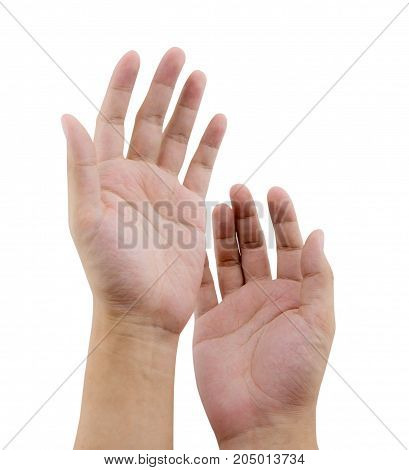 hand gesture of male isolated on white background - clipping part.