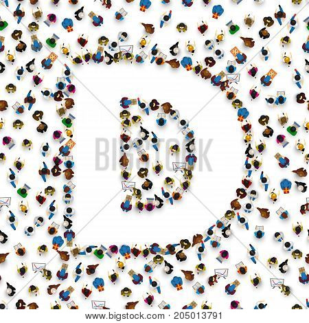 A group of people in the shape of English alphabet letter D on light background. Vector illustration.
