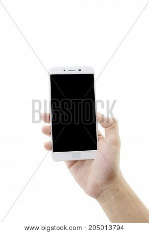 Hand Holding White Phone Isolated On White Background - Clipping Path.
