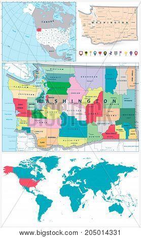 Washington map USA map North America map World map navigation set.