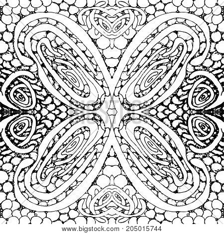 Seamless tile with a black and white pattern. Vector illustration. Hand drawing.