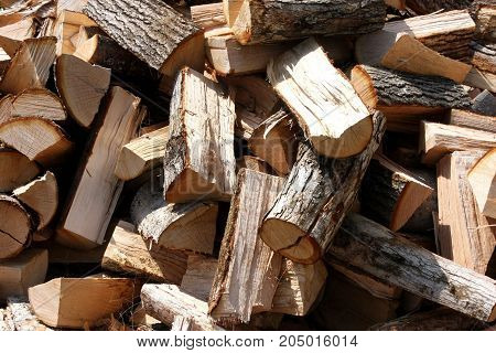 Large pile of unstacked firewood on a sunny day.