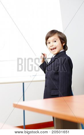 Genius boy making a  presentation