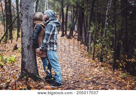 A nice Couple in the autumn park