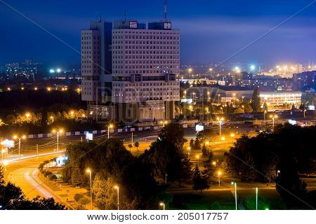 Aerial night Kaliningrad cityscape. View to Abandoned building House of Councils (House of Soviets)