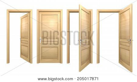 Open and closed wooden doors isolated on white