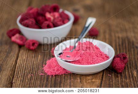 Ground Raspberries Close-up Shot, Selective Focus