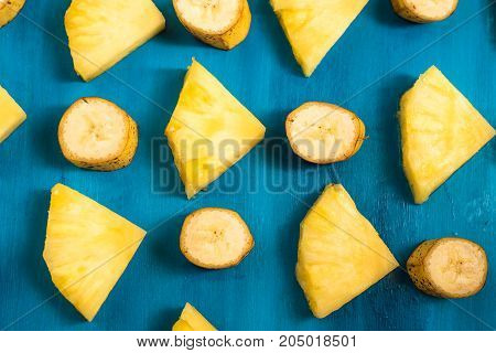 Close up slice pineapple background texture, pattern