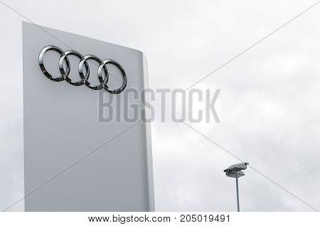 Reykjavik, Iceland, August 25, 2017: Audi Logo At The Top Of A Pole At Their Dealership In Reykjavik